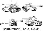 powerful tank with a gun drawn... | Shutterstock .eps vector #1285182034