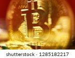 bitcoin logo in the dark | Shutterstock . vector #1285182217