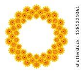 yellow flowers decorative... | Shutterstock .eps vector #1285221061