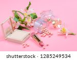 cosmetics for makeup on pink... | Shutterstock . vector #1285249534