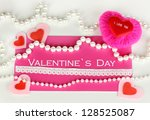 greeting card for valentine's... | Shutterstock . vector #128525087
