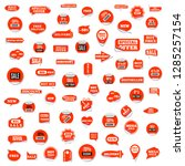 set of red paper stickers... | Shutterstock .eps vector #1285257154