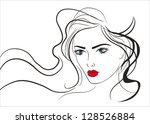 beautiful girl's face lines | Shutterstock .eps vector #128526884