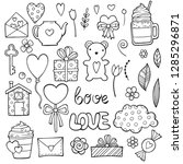 cute romantic stickers set for... | Shutterstock .eps vector #1285296871