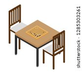 isometric table and two chairs. ... | Shutterstock .eps vector #1285303261