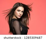woman with beauty long brown... | Shutterstock . vector #1285309687