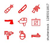 9 weapon icons with knife and... | Shutterstock .eps vector #1285311817