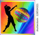 dancing girl on a rainbow... | Shutterstock . vector #128534321