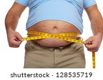 fat man holding a measuring... | Shutterstock . vector #128535719