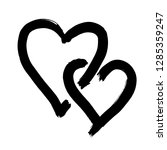 two hearts drawn by hand. two... | Shutterstock .eps vector #1285359247