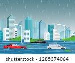 vector illustration of flood... | Shutterstock .eps vector #1285374064