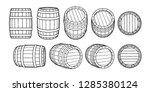 set of wooden barrels in... | Shutterstock .eps vector #1285380124