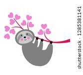 cute valentine sloth vector... | Shutterstock .eps vector #1285381141