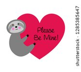 cute vector sloth valentine... | Shutterstock .eps vector #1285385647