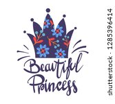 t shirt design with crown ... | Shutterstock .eps vector #1285396414