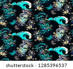 pattern of asian dragon and sea ... | Shutterstock .eps vector #1285396537
