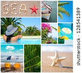 Colorful sea collage - Summer vacation conceoptual images - stock photo