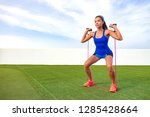 exercise woman with fitness... | Shutterstock . vector #1285428664