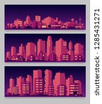 city skyline colored sets  city ... | Shutterstock .eps vector #1285431271