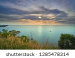 scenic of seascape with sunset... | Shutterstock . vector #1285478314