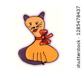 cat with a bow around his neck... | Shutterstock .eps vector #1285478437