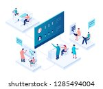 people interacting with charts... | Shutterstock .eps vector #1285494004