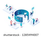 people interacting with charts... | Shutterstock .eps vector #1285494007