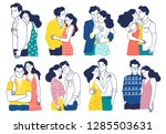 collection of romantic couples... | Shutterstock .eps vector #1285503631
