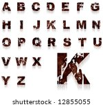 Complete alphabet with rusty and grungy letters - stock photo