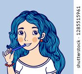 girl with blue hair gnaws a...   Shutterstock .eps vector #1285515961