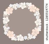 round beige floral border vector | Shutterstock .eps vector #1285519774