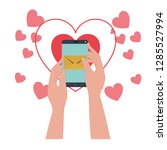 hands with smartphone and...   Shutterstock .eps vector #1285527994