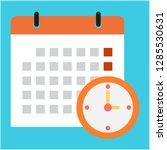 vector calendar and clock icon. ... | Shutterstock .eps vector #1285530631