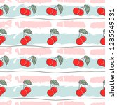 cute red cherry doodle seamless ... | Shutterstock .eps vector #1285549531