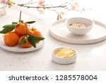 dried and sweetened ginger ... | Shutterstock . vector #1285578004