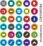 white solid icon set  cinema... | Shutterstock .eps vector #1285589284