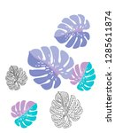 vector tropical pattern with... | Shutterstock .eps vector #1285611874