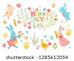 happy easter vector set. cute...   Shutterstock .eps vector #1285612054