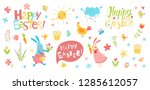 happy easter vector set. cute...   Shutterstock .eps vector #1285612057