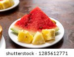 watermelon with pineapple on... | Shutterstock . vector #1285612771