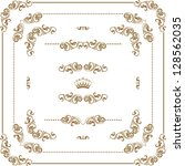 vector set of gold decorative... | Shutterstock .eps vector #128562035