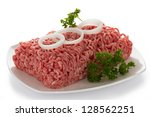 Minced Meat Isolated On White...
