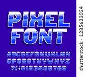 pixel alphabet font. digital... | Shutterstock .eps vector #1285633024