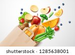 healthy food from organic shop  ... | Shutterstock .eps vector #1285638001