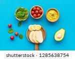 healthy breakfast. toasts with...   Shutterstock . vector #1285638754