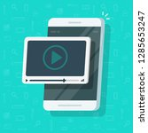 video on mobile phone vector... | Shutterstock .eps vector #1285653247