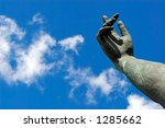 stone hand on a background of... | Shutterstock . vector #1285662