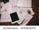 top view of digital tablet and...   Shutterstock . vector #1285696141