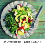 healthy fitness salad with... | Shutterstock . vector #1285723144