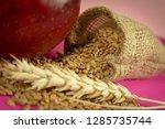 red apple  fresh raw wheat... | Shutterstock . vector #1285735744